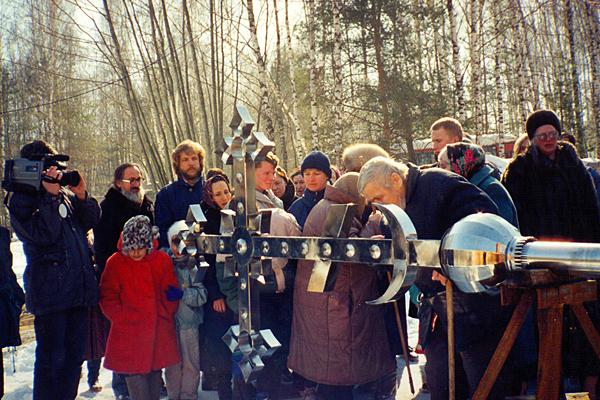Освящение и установка Креста на колокольню Пущинского храма