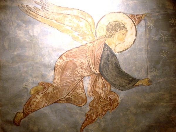 Ангел, свивающий небеса. 1408 г. Из композиции «Страшный суд». Копия Н.В. Гусева 1963 г.
