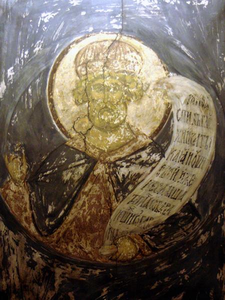 Царь Давид, псалмопевец. 1408 г. Арка центрального нефа. Копия Н.В. Гусева 1959 г.