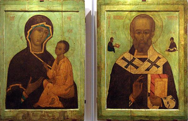 Иконы «Богоматерь Тихвинская» и «Святитель Николай Мирликийский» 1550-х г. из Успенского собора г. Дмитров