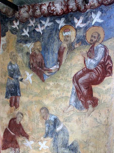 Голуби в росписях Романов-Борисоглебского монастыря