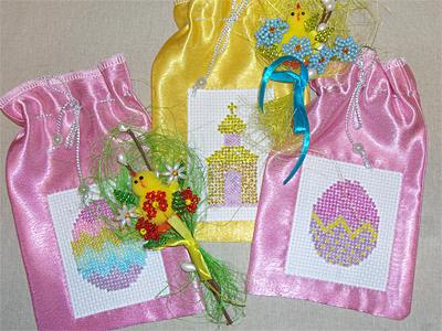 Мешочек для пасхального подарка с бисерной вышивкой