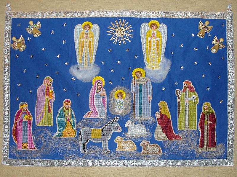 Рождественский вертеп (вышивка крестом)