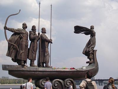 Символ Киева - ладья с тремя братьями Кий, Хорив, Щек и Лыбидь